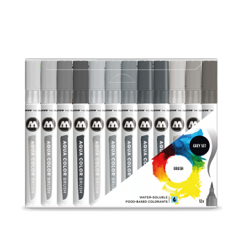 Molotow AQUA COLOR Brush Grey Set (12kpl)
