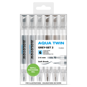 MOLOTOW AQUA TWIN Grey-Set 2