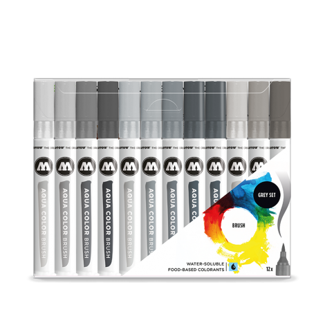 Molotow AQUA COLOR Brush Grey Set (12kpl)